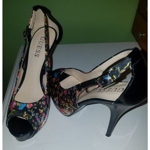 Guess Floral Open Side Satin Peep Toe Heels